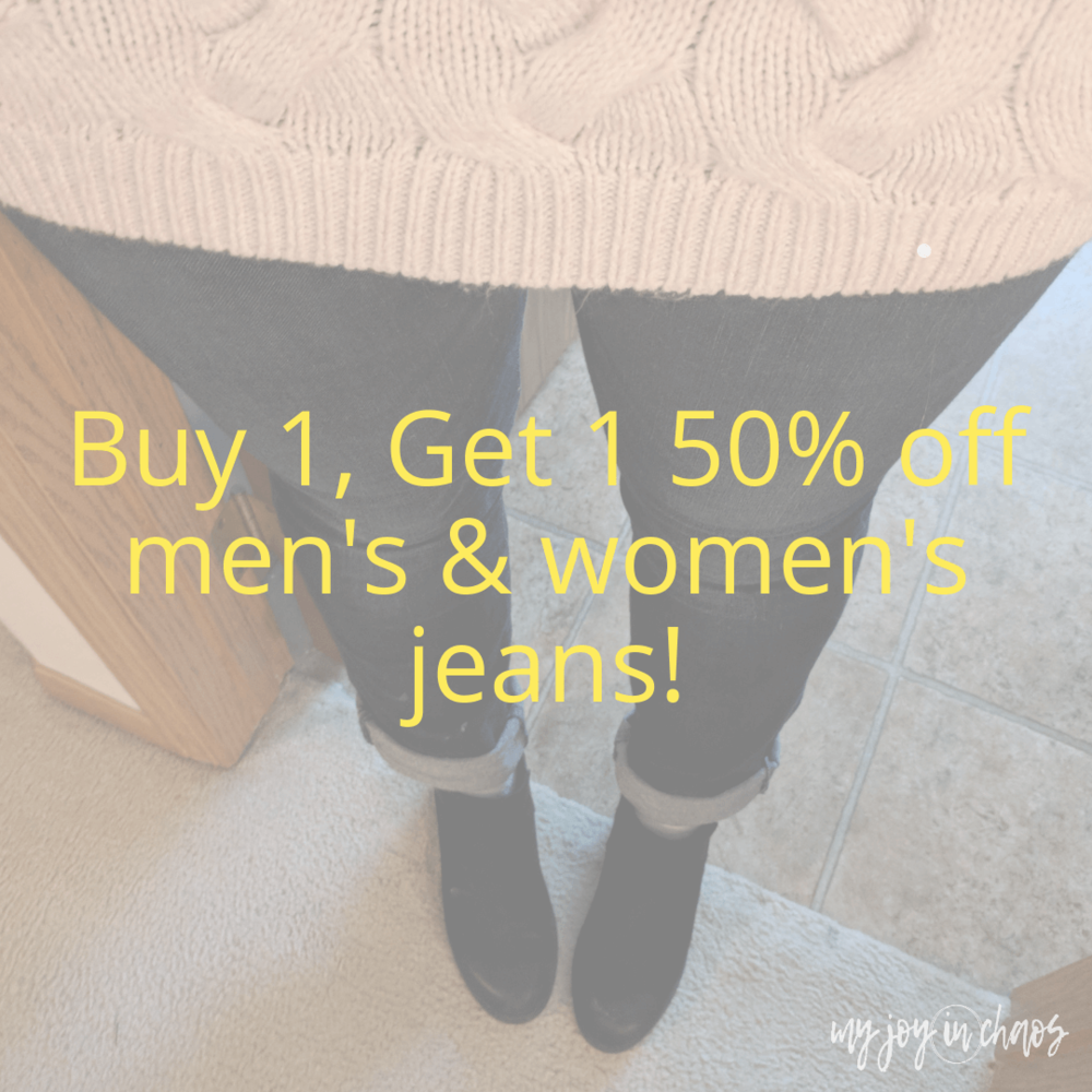 Buy 1, Get 1 50% off men's and women's jeans at Target through 9/22. No coupon needed!