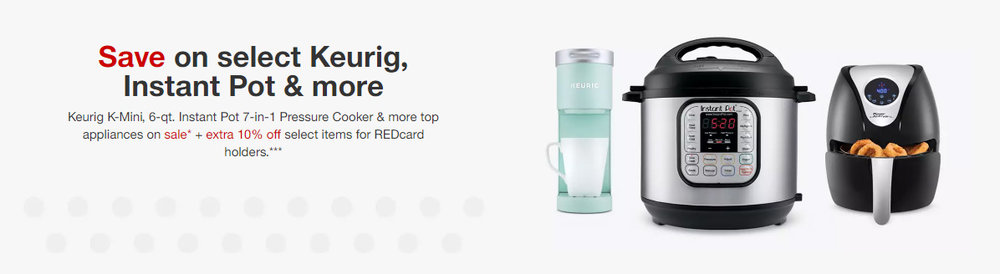 Save on select Keurig, Instant Pot, Air Fryer, and other top appliances at Target through 9/29