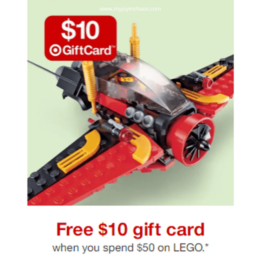 Save big on LEGO this week at Target when you buy $50 worth and get a free $10 gift card.