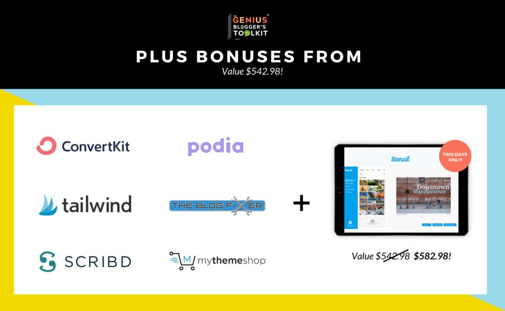 Bonus Partners for the Genius Blogger Toolkit 2018