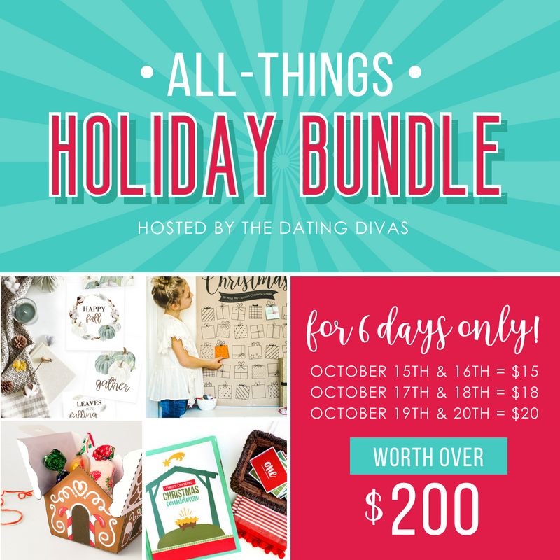 The All Things Holiday Bundle hosted by The Dating Divas is available for 6 days only! Get over $200 worth of holiday printables for 90% off!
