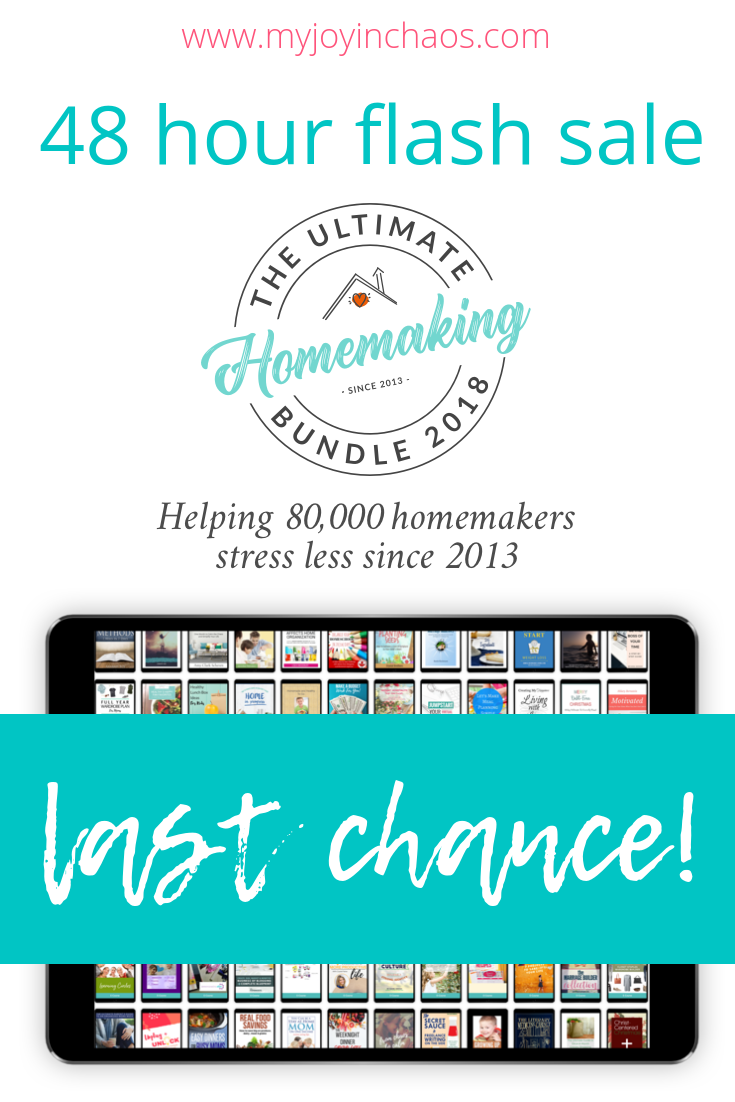 48 hour flash sale for the 2018 Ultimate Homemaking Bundle. Last chance to get your copy!