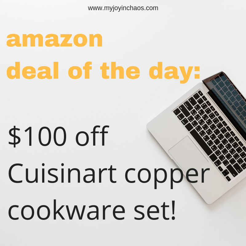 """Today on Amazon you can get this 8 piece copper cookware set from Cuisinart for 33% off - a savings of 100! It includes a 2.5 Qt. Saucepan w/cover, a 4 Qt. Saute Pan w/helper handle and cover, a 6 Qt. Stockpot w/cover, an 8"""" Skillet, and 10"""" Skillet."""