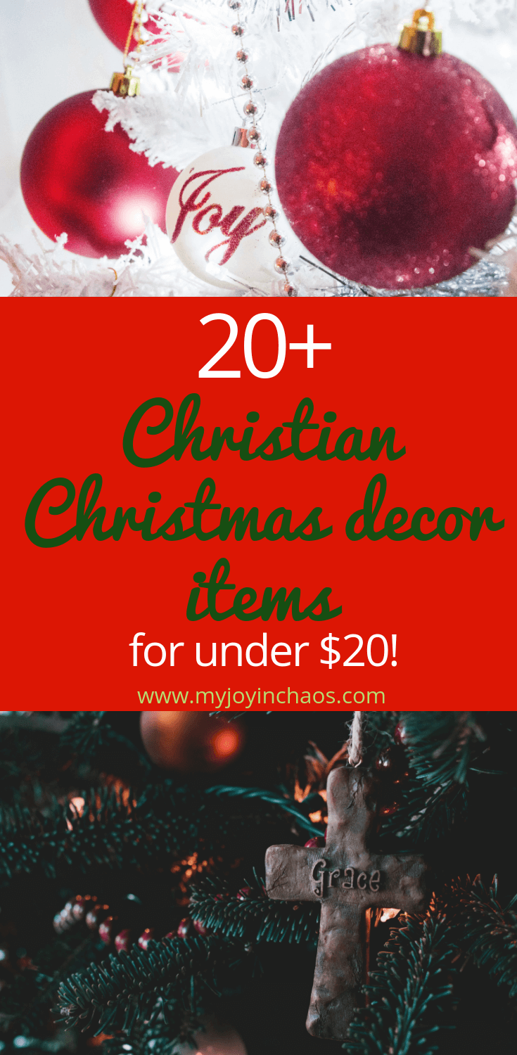 Christmas Decor for under $20 | Fill your home with Christ-centered and joy-filled Christmas decor with these beautiful items - all under $20! #ChristCenteredChristmas #Christmasdecor #Christmasdecorations #wallart #manteldecor #tabledecor #holidaydecor