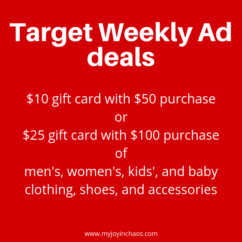 free gift card at Target with purchase of clothing, shoes, or accessories