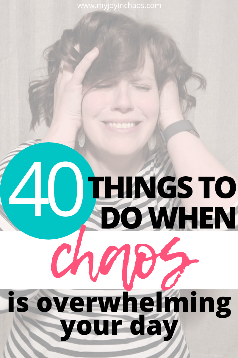 Why is being a mom so hard? What should I do when I feel overwhelmed by kids, chores, work, and endless to-do lists? Here are 40 ideas for calming your chaos, bringing peace to your heart, and helping you love motherhood again.