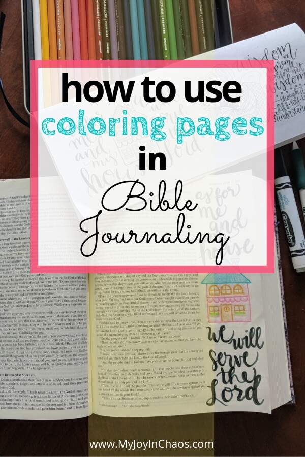 open Bible with coloring sheets and colored pencils