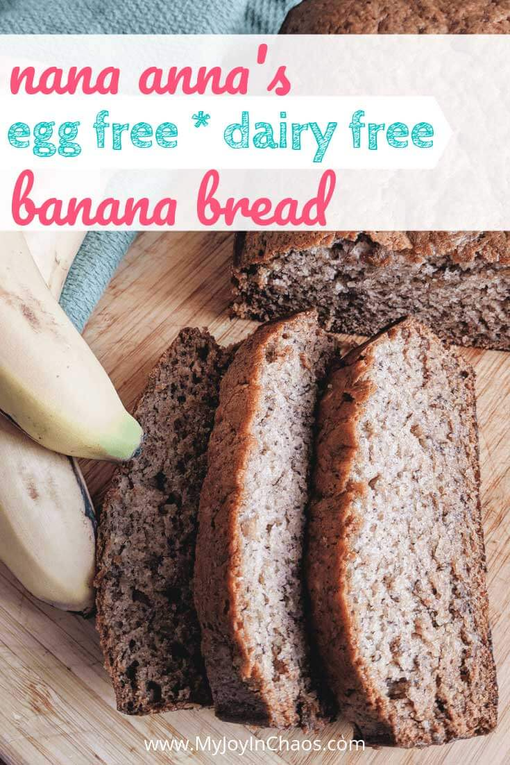 Homemade egg free, dairy free banana bread that stays moist and delicious for days! Perfect for snack, breakfast, or anytime!