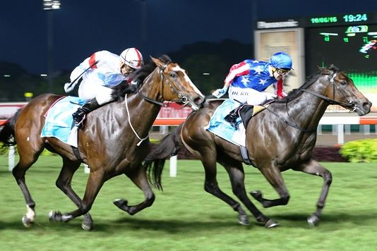 Macarthur seen here winning the fourth Leg of the 2YO Singapore Golden Horseshoe series under Vlad Duric.