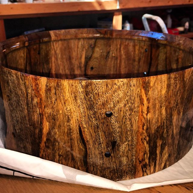 Mango ready for hardware. #drums #drummer #drumming #snaredrum #woodworking