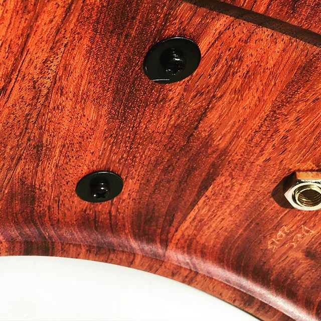 Bubinga snare from Dec. 2015. Check out the reinforcement rings! #woodworking #snaredrum #drumming #drummer #drums