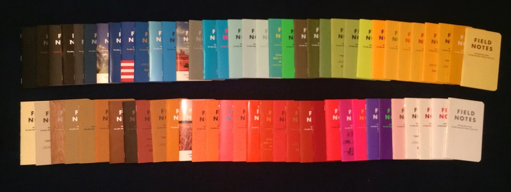The many colors of Field Notes (picture taken in 2014...the spectrum has doubled since!)