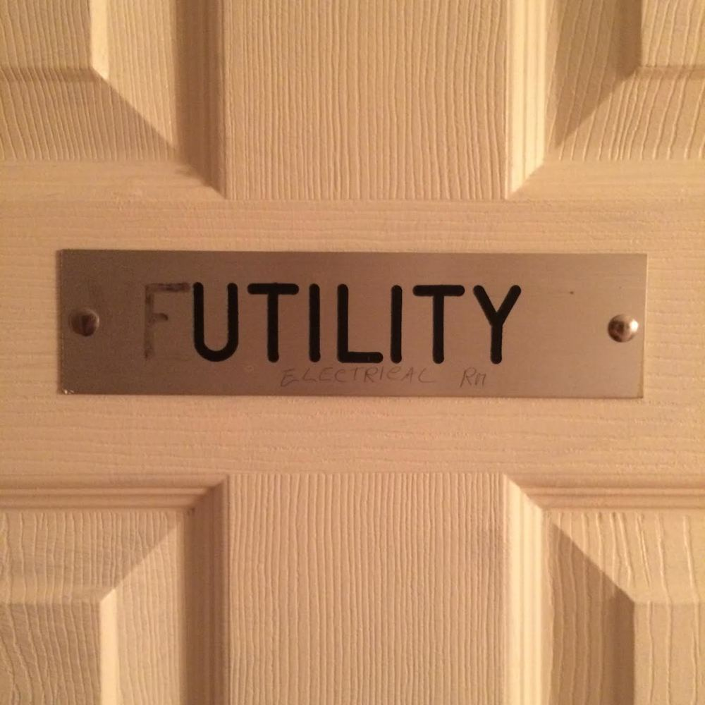 "The famous namesake of Futility Closet on the outside of our ""studio""."