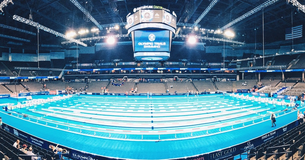 Poolside in Omaha at the USA Olympic Swimming Trials ( Karl's Instagram )