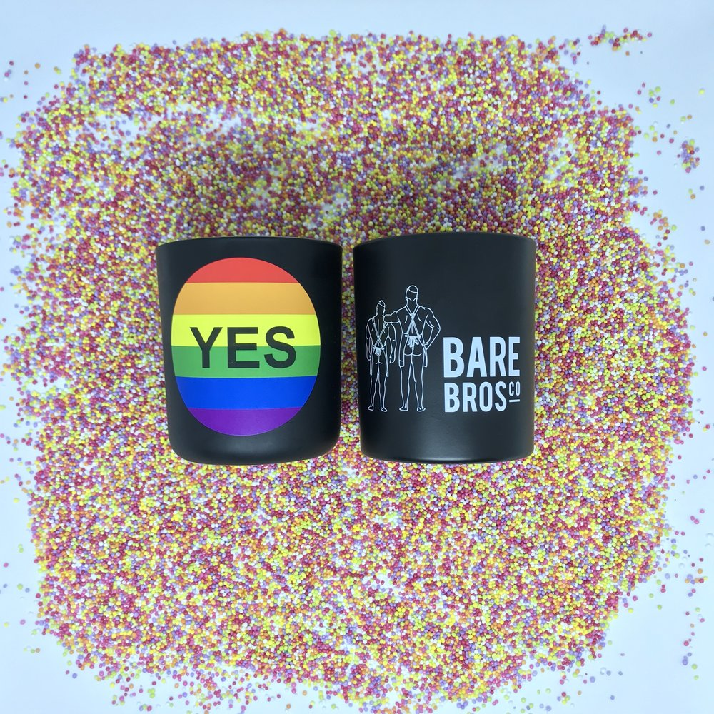 Bare Bros Co. have released their signature 100's and 1000's YES candle to soincide with supporting switchboard Victoria. Bare Bros Co. believe in equality for all and are proud to support the LGBTQI+ community.