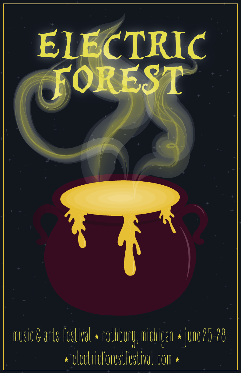 Poster created for design contest for Michigan music festival Electric Forest | April 2015