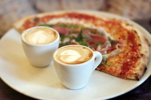 breakfast pizza & coffee