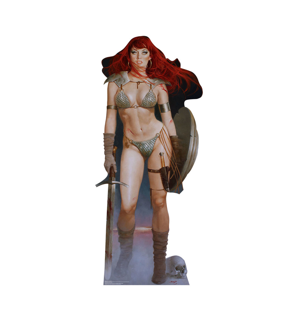 "This is a lifesize cardboard cutout of Red Sonja, known as the ""She-Devil with a Sword."" Red Sonja is more than a match for any man in combat. First appearing in Marvel Comics in 1973, Red Sonja became the standard example of beautiful warrior woman. Get your cardboard cutout of this beautiful swordswoman today!  Size : 70″ x 30″ Sku # 2234"
