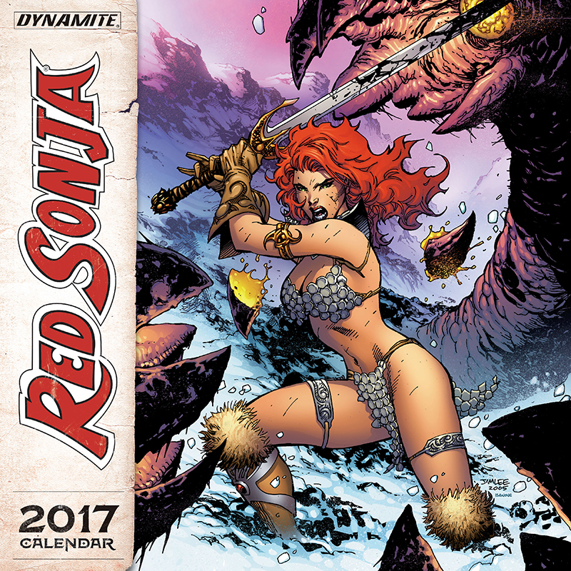 Red Sonja 2017 Calendar!!!!  Even during the winter months, Red Sonja is no ice queen... she's a She-Devil! Fiery in spirit, skilled in combat, lusty and bawdy in her revelry, the crimson-tressed heroine looks gorgeous and grand throughout every month of the 2017 wall calendar. Proudly display these powerful portrayals of the fan-favorite swordswoman, courtesy of the artistic talent of of Frank Cho, Joe Jusko, Greg Land, Jim Lee, Joseph Michael Linsner, Davie Mack, Esteban Maroto, Alex Ross, Marc Silvestri, Frank Thorne, Michael Turner, Mel Rubi, and more!
