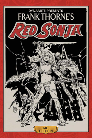 Celebrate the seminal work of legendary fantasy illustrator Frank Thorne with this gorgeous hardcover collection, presenting for the first time the actual storyboard artwork from his complete 1976 run of swords-and-sorcery icon Red Sonja appearances in the Marvel Feature comic book series. Scanned in high-resolution color and printed at original size, Frank Thorne's Red Sonja Art Edition preserves every detail of the artist's meticulous skill and hard work, while simultaneously presenting a complete storyline for the enjoyment of longtime She-Devil fans. Limited to initial orders ONLY. - PRESENTING THE ART OF THE DEFINITIVE RED SONJA ARTIST AT ITS ORIGINAL SIZE IN AN OVERSIZED HARDCOVER EDITION! - FEATURING HIGH RESOLUTION, COLOR SCANS OF FRANK THORNE'S ORIGINAL ARTWORK FROM HIS PERSONAL COLLECTION! - THE FIRST IN A SERIES OF ART EDITIONS FROM DYNAMITE!