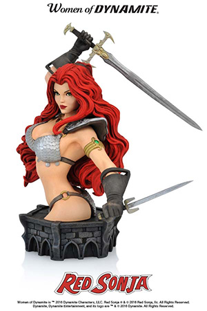 "The first of Dynamite Entertainment's new series of busts inspired by the artwork of comic book master Art Adams! Sculpted by Jason Smith and modeled after Adams' gorgeous cover to the landmark Red Sonja #50, this Limited Edition poly-resin bust has cast metal details and stands approximately 7.5"" height (to the top of the She-Devil's sword hand), with a base measuring 3"" by 5.5"". Packaged in a four-color display box, this highly-detailed Red Sonja Bust celebrates one of the industry's finest artists, and one of fantasy's most iconic women!"