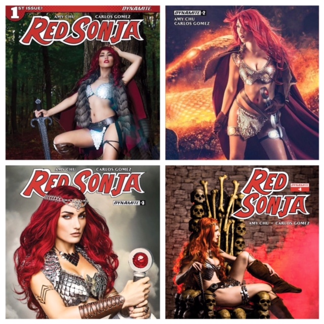 Call your local Comic Book Shop and make sure they order your favorite Cosplayer Covers or Collect them all!!! Bottom left, Tatiana Dekhtyar is avail in stores now!  Bottom right, Kat Sheridan... have your local shop order Red Sonja 4 today!