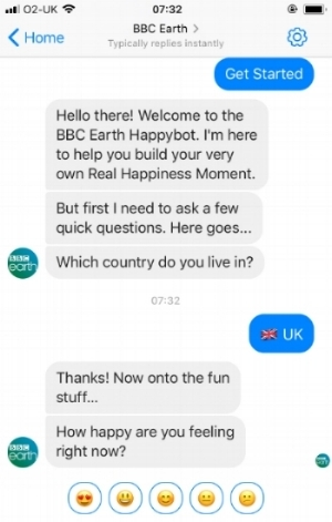 BBC Earth's bot, with message cards and emoji-based quick reply buttons.