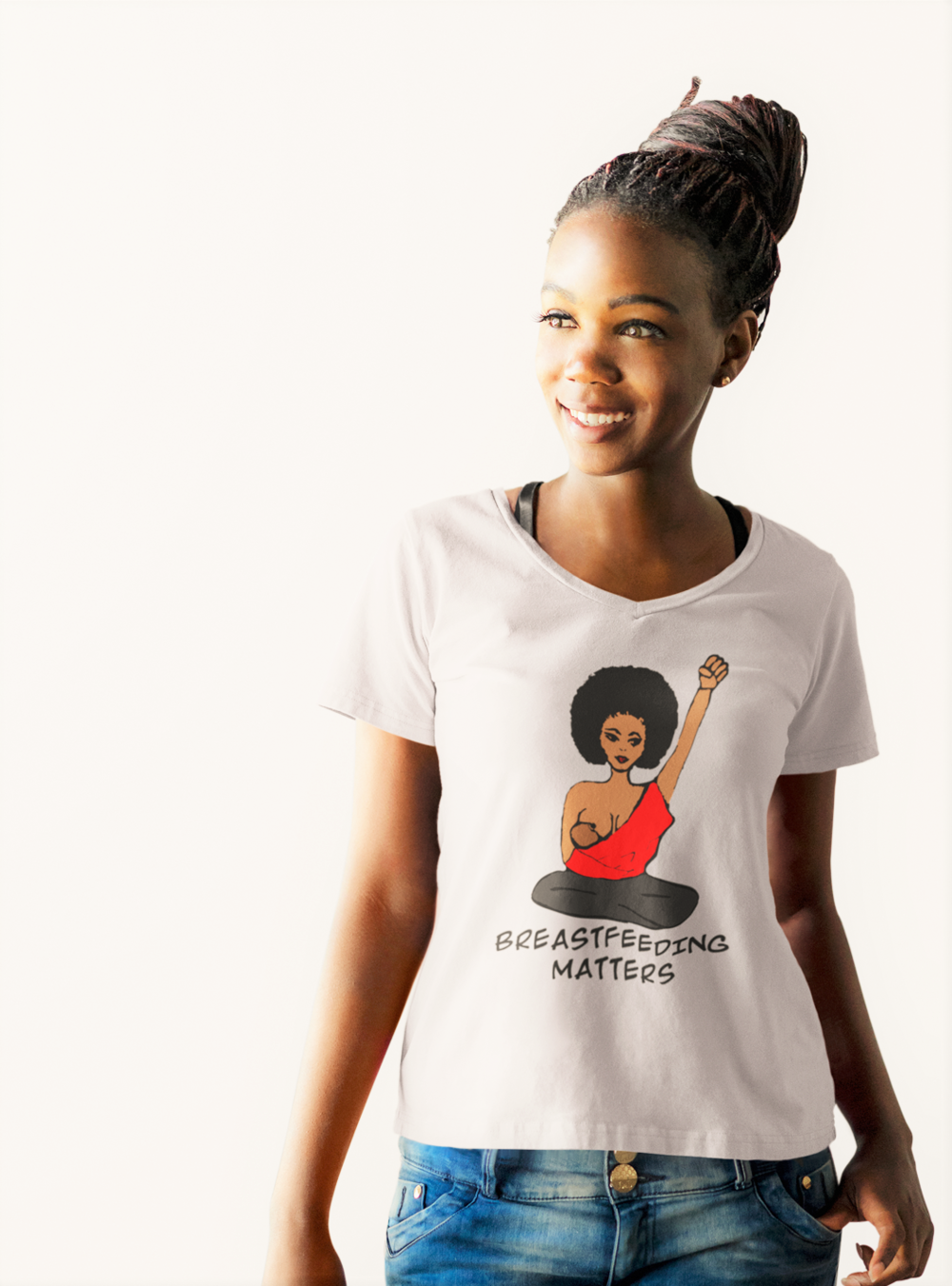 black breastfeeding Tshirt to support and promote breastfeeding in the black community.