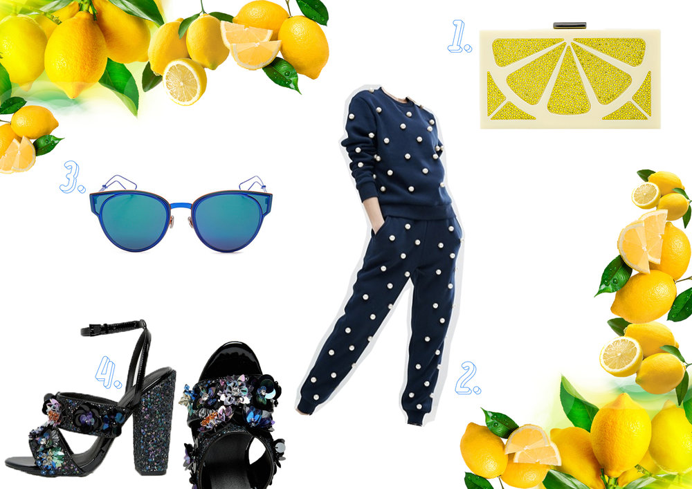 1. Alice + Olivia clutch  here , 2. ASOS WHITE pearl sweat suit  here , 3. DIOR sculpt cat eye sunglasses  here , 4. ASOS HEROISM embellished sandals  here