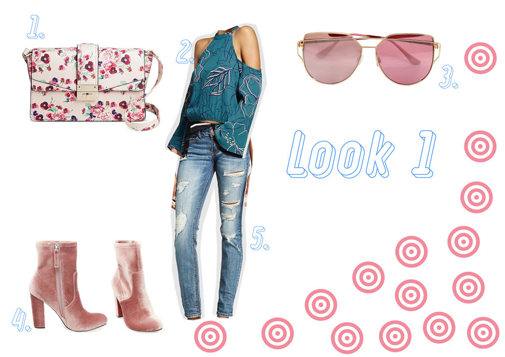 1. Floral bag here - 2. Green top here - 3. Sunglasses here - 4. Velvet boots here - 5. Ripped jeans here