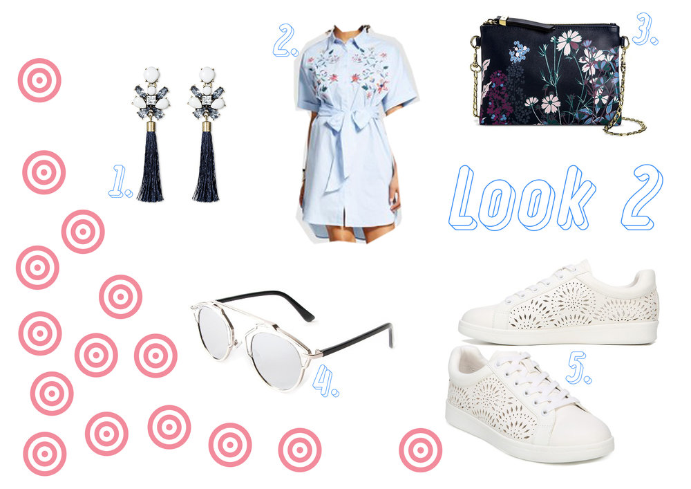 1. Ear rings  here  - 2. Shirt dress  here  - 3. Floral bag  here  - 4. Sunglasses  here  - 5. Sneakers  here