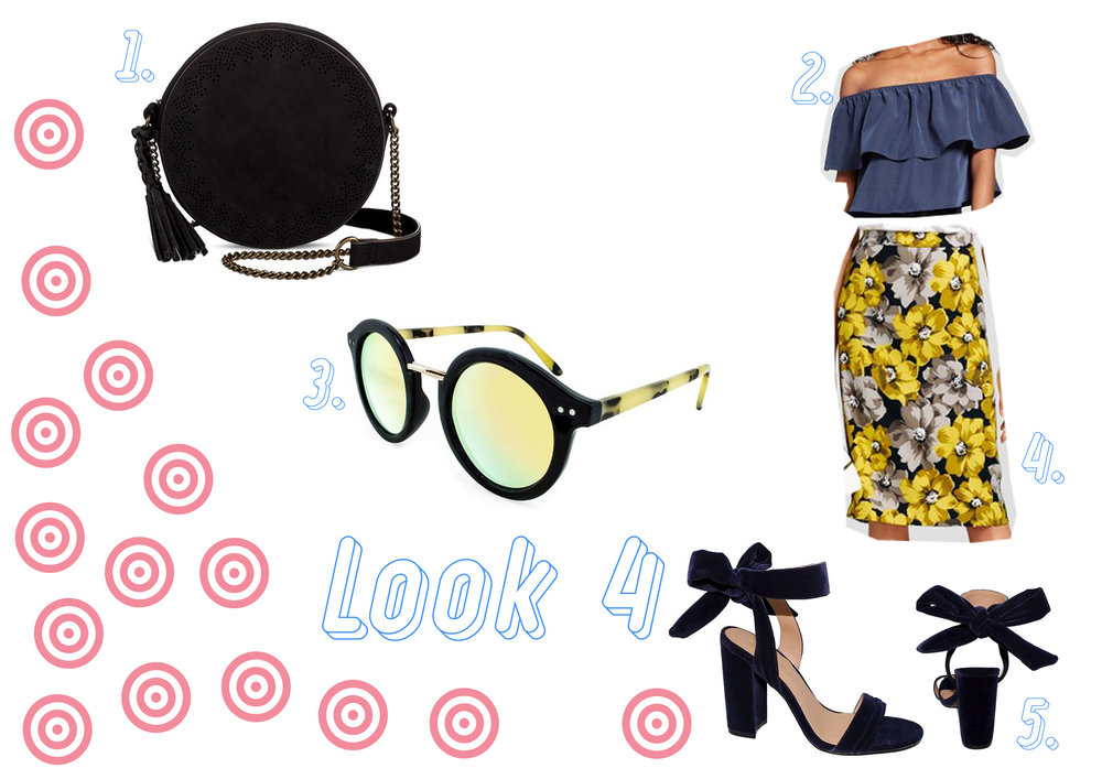 1. Black handbag  here  - 2. Blue flounce top  here  - 3. Yellow sunglasses  here  - 4. Yellow skirt  here  - 5. Blue velvet shoes  here