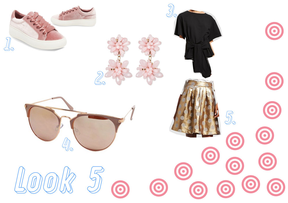 1. Velvet sneakers  here  - 2. Earrings  here  - 3. Black top  here  - 4. Rose gold sunglasses  here  - 5. Gold skirt  here