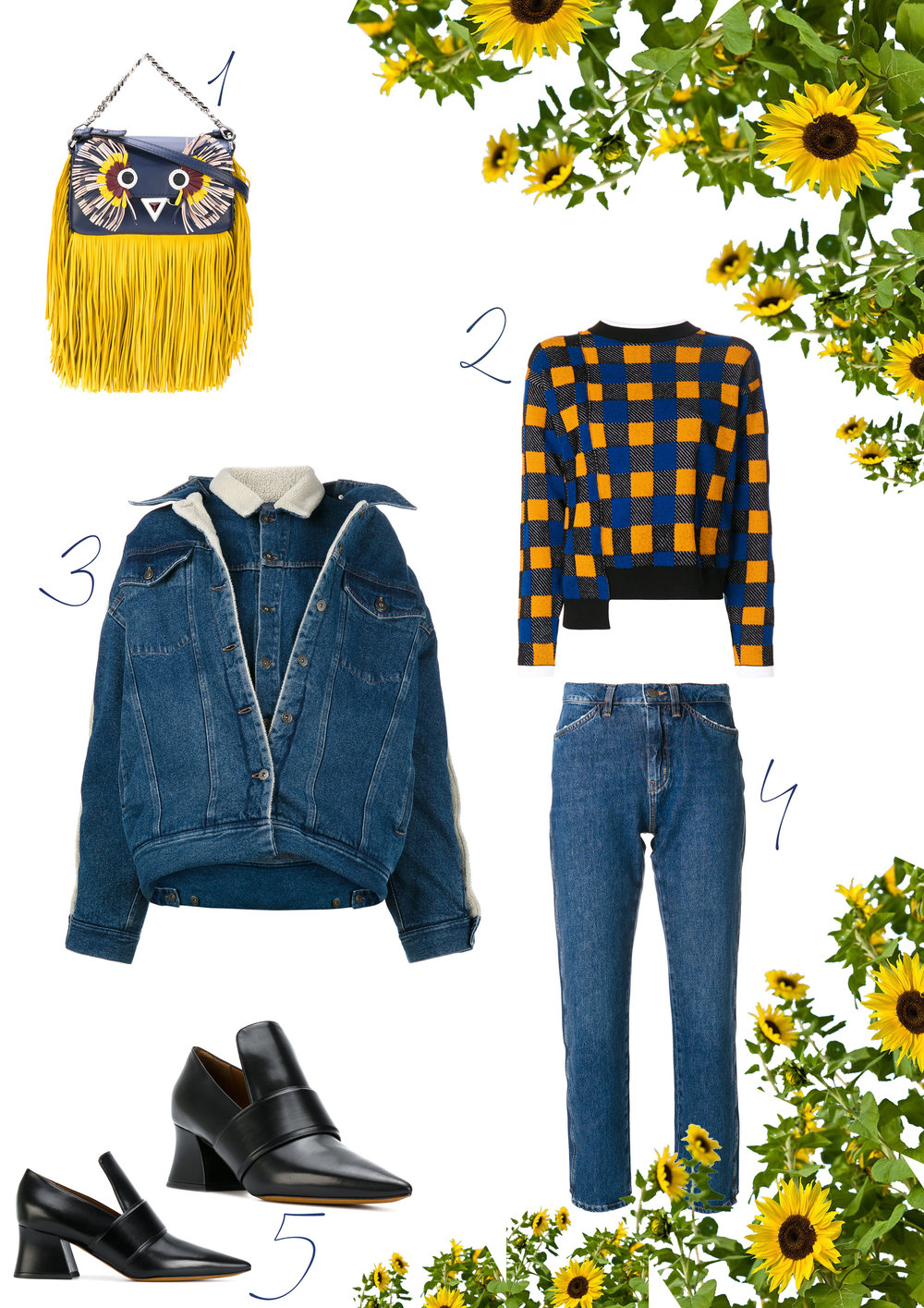1. Fendi bag, find it  here  // 2. Marni jumper, find it  here  // 3. Y/Project denim jacket, find it  here  // 4. Mih jeans, find them  here  // 5. Givenchy loafers, find them  here .