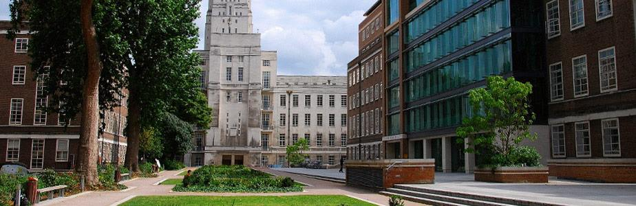 Torrington Square, Bloomsbury. Senate House Library (centre) and Birkbeck College (right)
