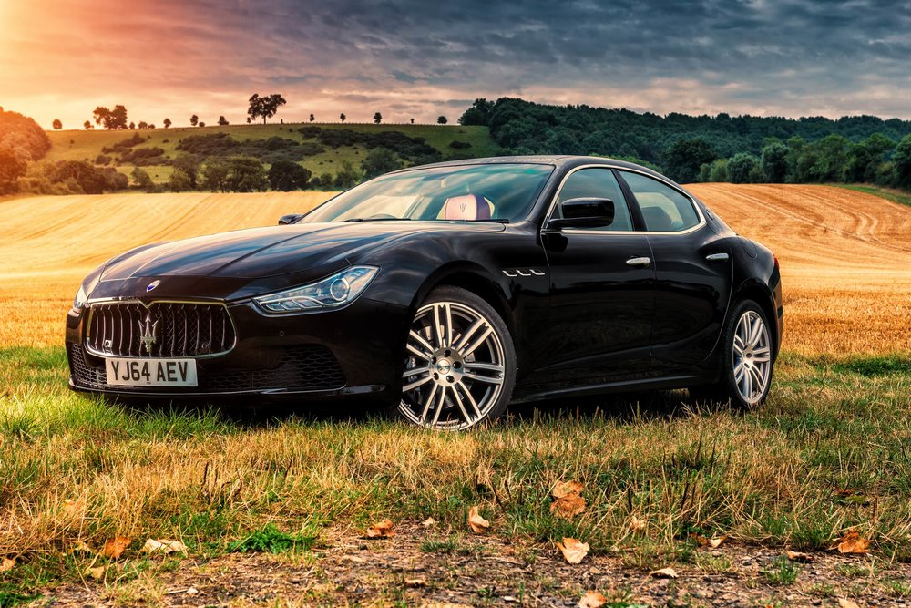 Maserati Ghibli at sunset - Cotswolds