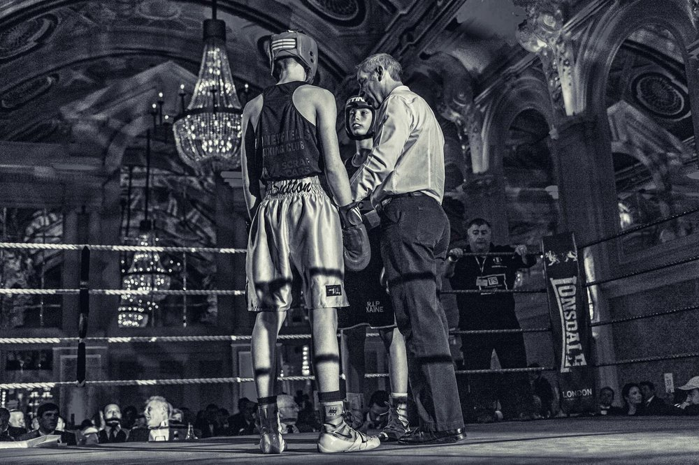 Boxers give each other the eye before the bell rings