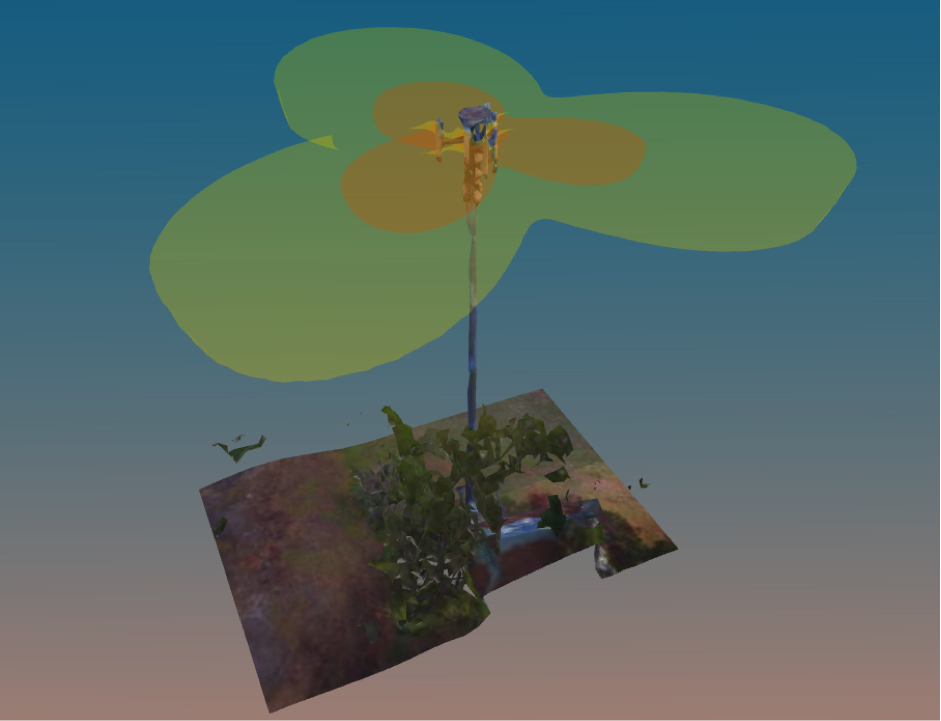 Figure 2: 3D Reality captured environment and in situ EME exclusion zone simulation.