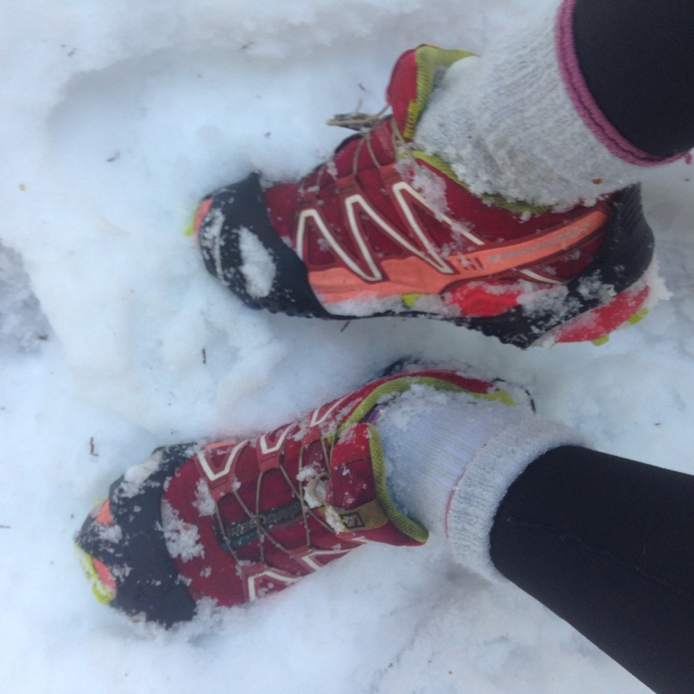 Second pair of socks over leggings - fashion statement or simply cold? Shoes: Salomon Speedcross 3's
