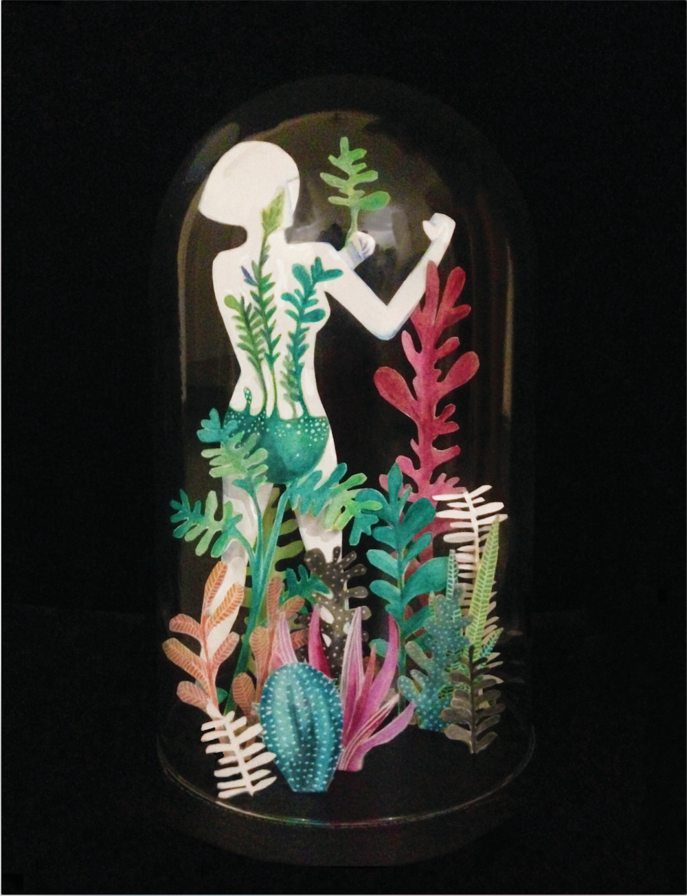 Water colour, paper cut out, and assembled in a bell jar.