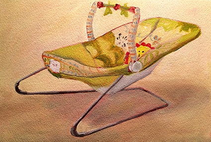 The bouncy chair  23 x 15.5cms (oil on paper)  Baby's age - 3 months + 3 days  Painting time - 1.5 + 1 hours  Completed - 6/2/2017