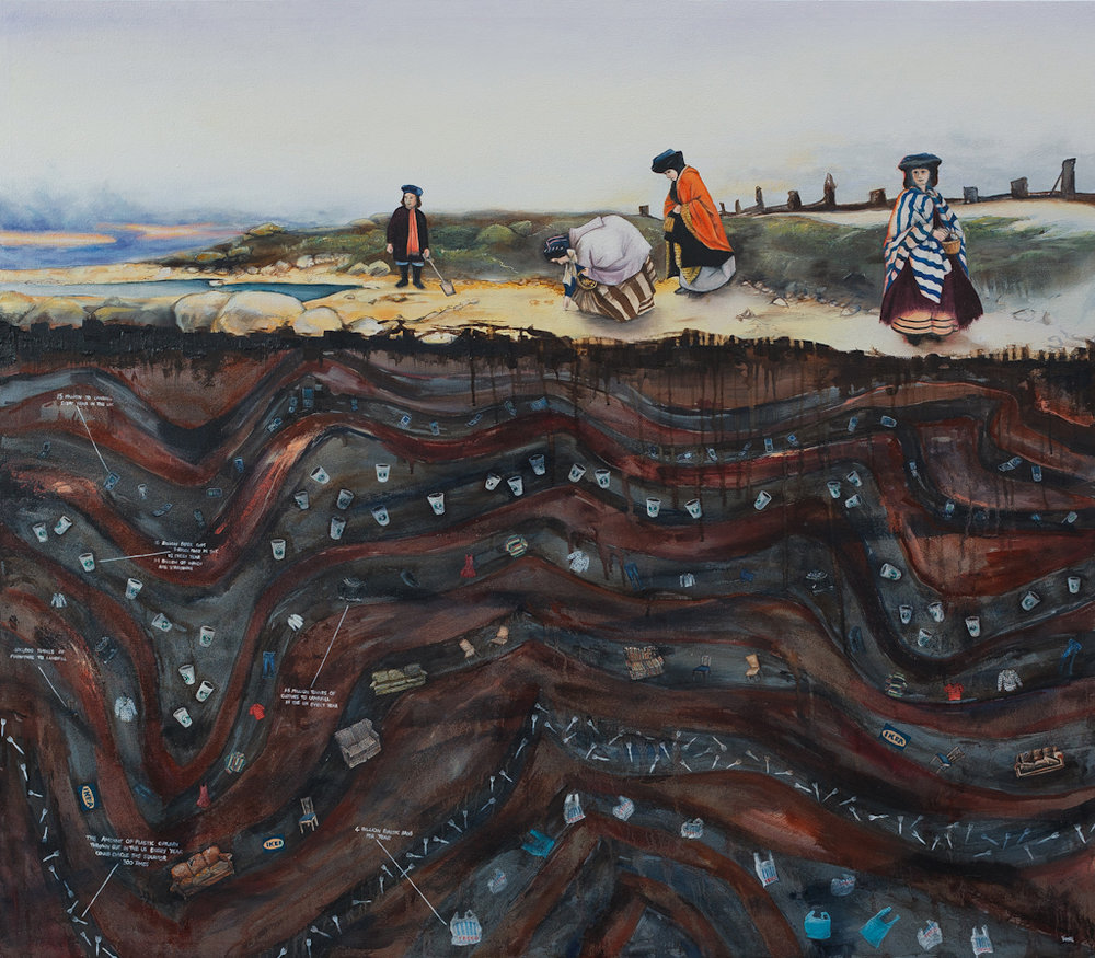 'Collecting Fossils in 2058' oil on canvas, 135 x 120cms, 2010