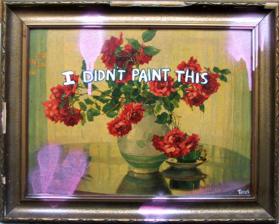 'I Didn't Paint This' Acrylic and spray paint on found painting, 2007