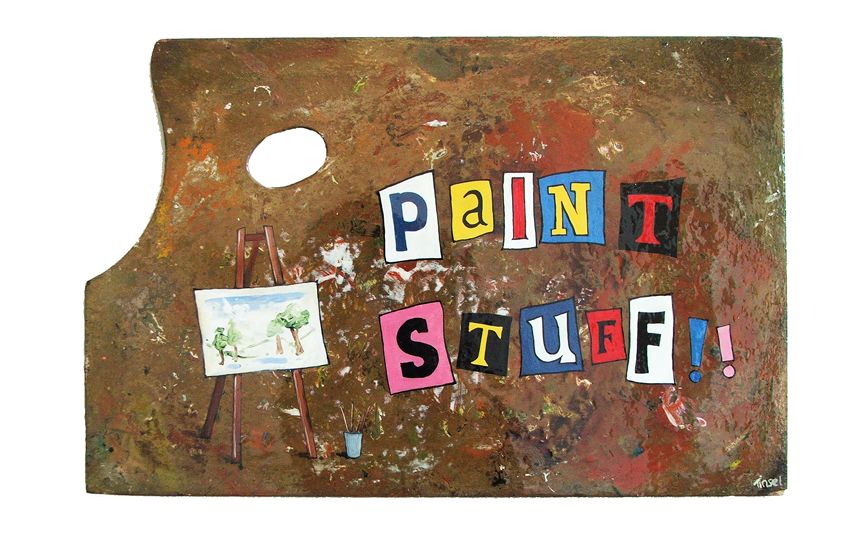 'Paint Stuff' acrylic and varnish on wooden palette, 48 x 31cms, 2009