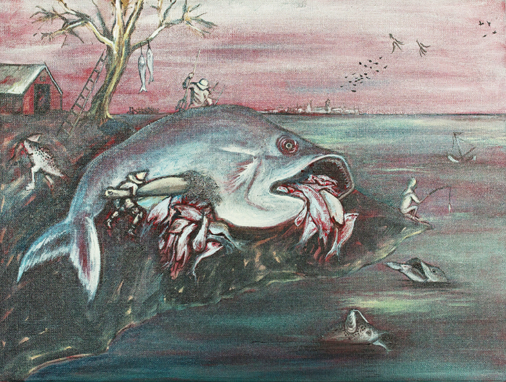 'Big Fish Eat Little Fish' (after Durer) oil on linen, 40 x 30cms, 2012