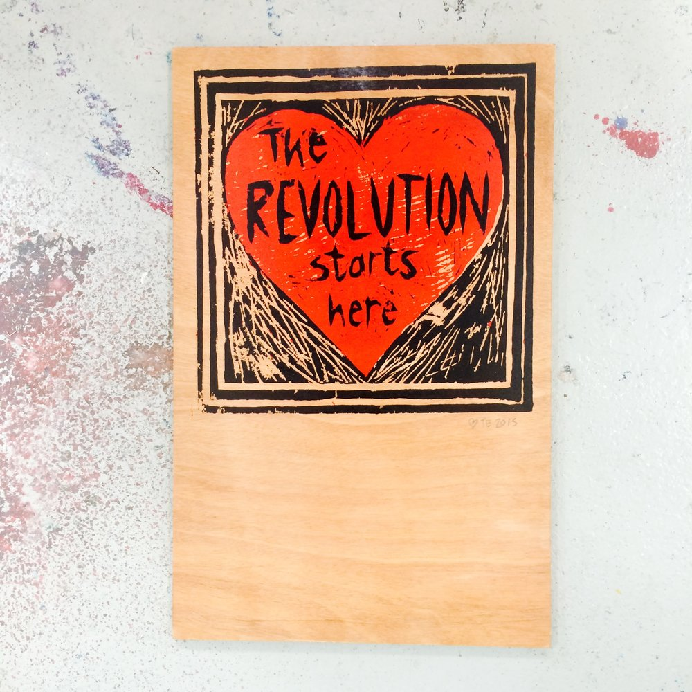 'Revolution' screenprint on wood, 65 x 41cms, 2015
