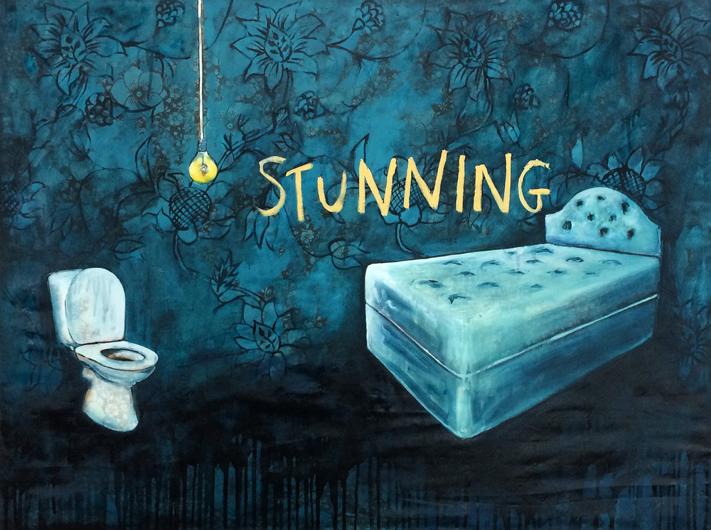 'Stunning Two Bedroom Apartment' oil on bedsheet stretched over wood. 120 x 100cms 2015