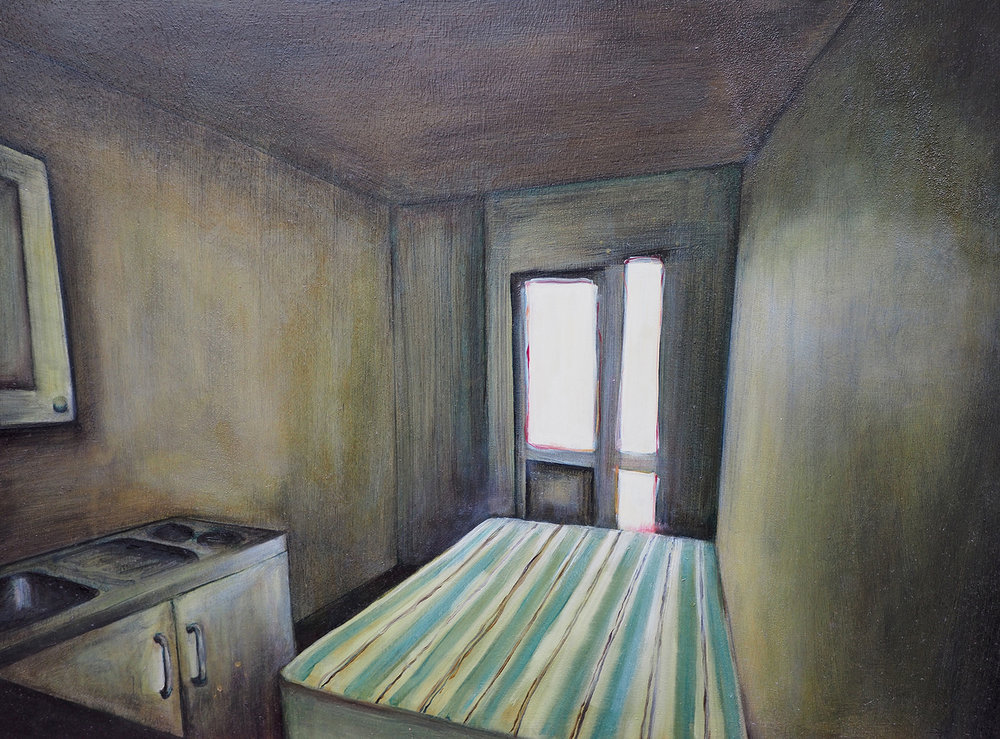 'Studio Flat in Kings Cross' oil on board. 65 x 40cms 2016