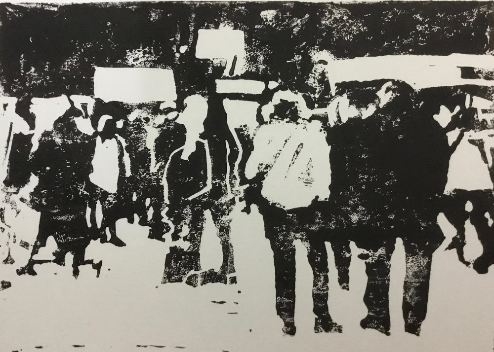 Lino print.