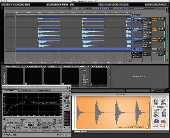Screengrab of a snare processing project in Ableton